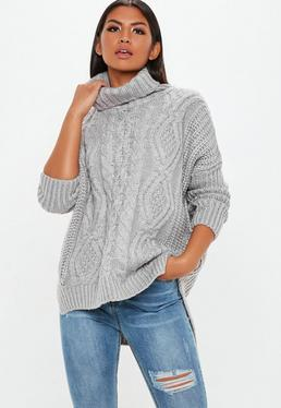 Gray Knitted Oversized Sweater