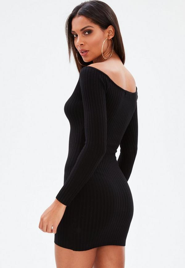 Black Ribbed Sweetheart Neckline Knitted Mini Dress by Missguided