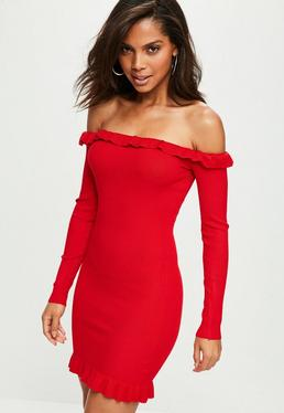 Red Bardot Sweater Dress