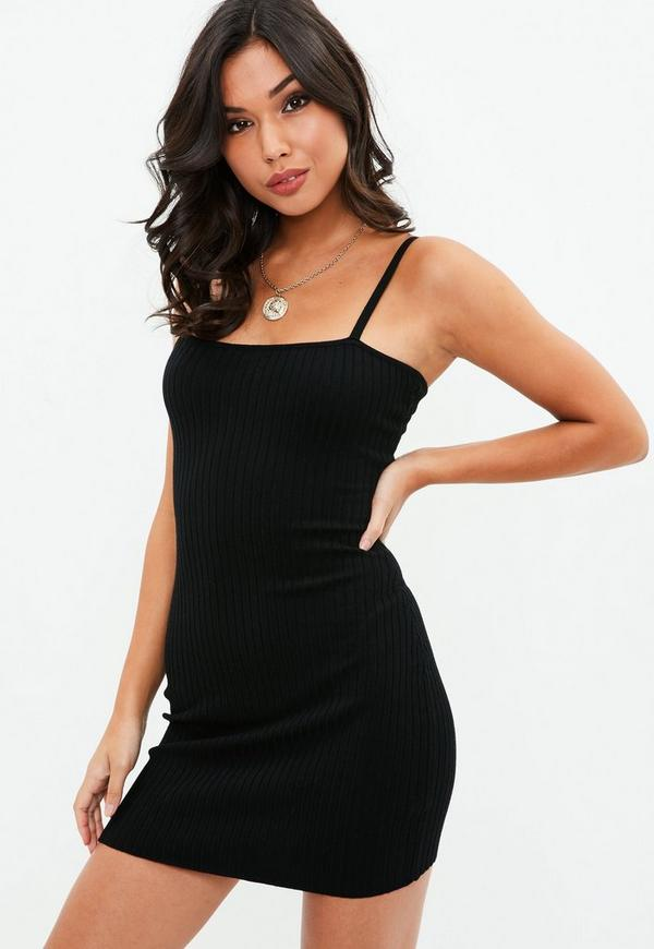 7e47defb5d ... Black Skinny Strap Square Neck knitted Mini Dress. Previous Next