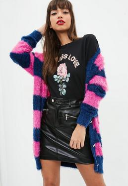 Pink Striped Longline Fluffy knitted Cardigan