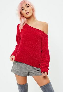 Red Off The Shoulder Chenille Sweater