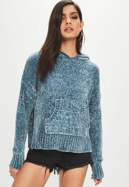 Blue Slouchy Chenille Knitted Hoodie