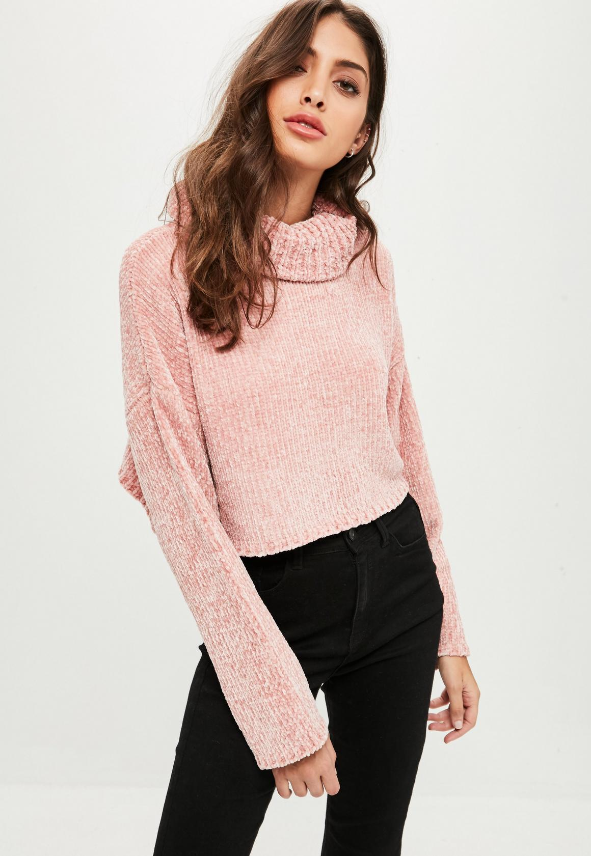 Pink Chenille Cropped Sweater | Missguided