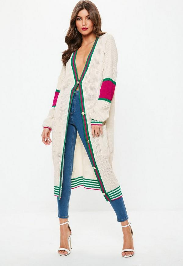 White Longline Stripe Cable Knit Cardigan Missguided