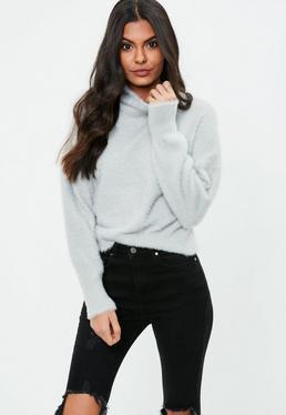 Gray Fluffy High Neck Sweater