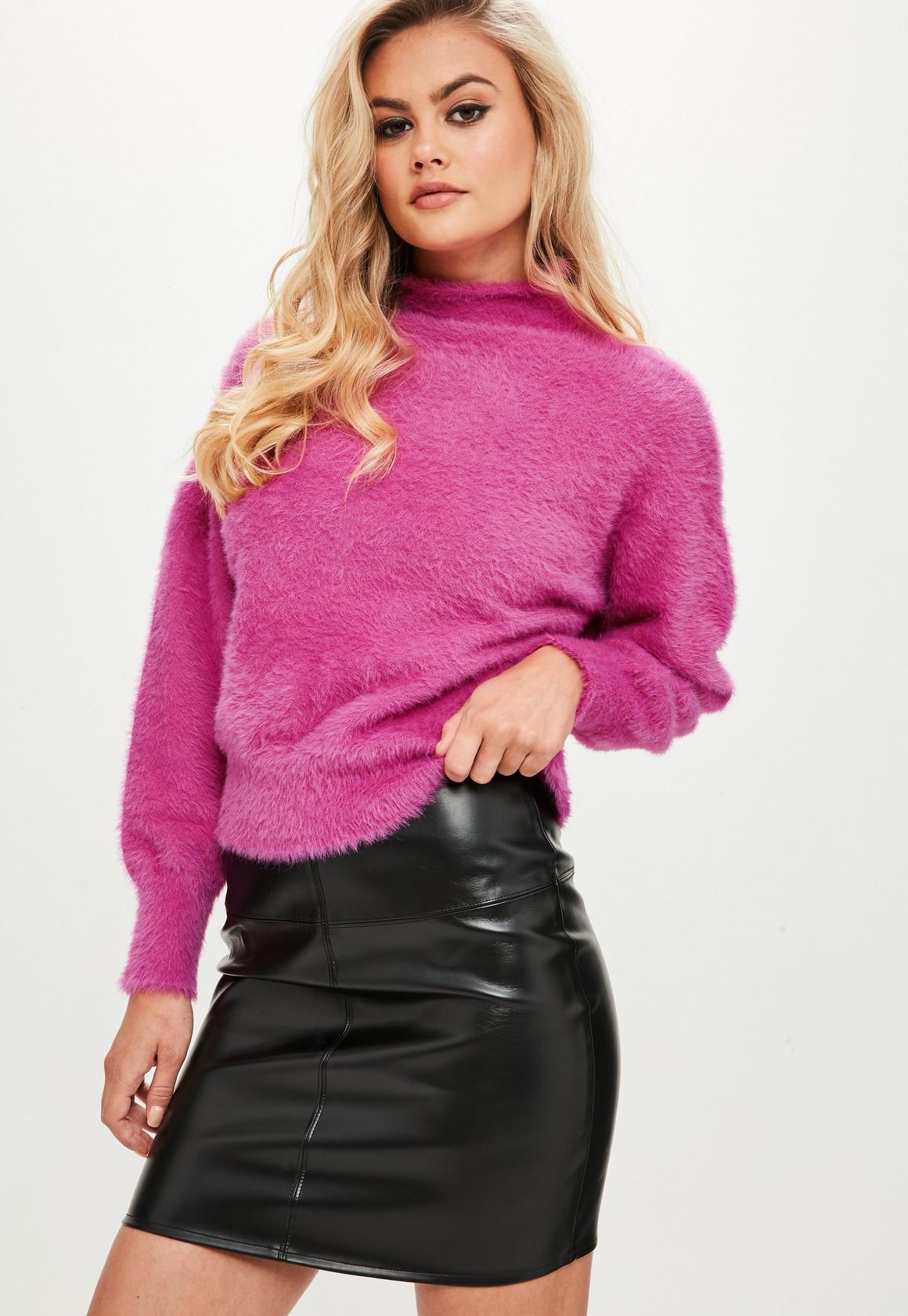 Pink Fluffy High Neck Sweater | Missguided