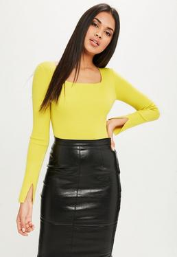 Yellow Square Neck Bodysuit