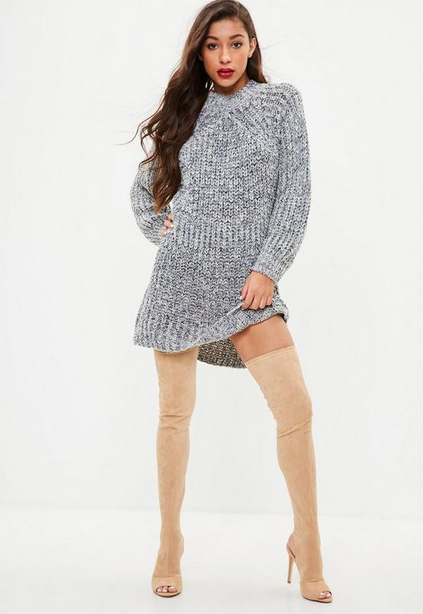 Grey High Neck Slouchy Knitted Jumper Dress by Missguided