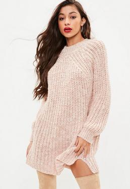 Nude Multi Yarn Slouchy Sweater Dress