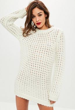 Ivory Chunky Knit Oversized Jumper Dress