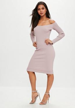 Mauve Bardot Ribbed Midi knitted Dress