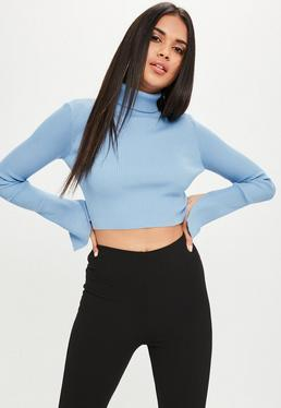 Blue High Neck Ribbed Cropped Sweater