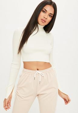 Cream High Neck Ribbed Cropped Sweater