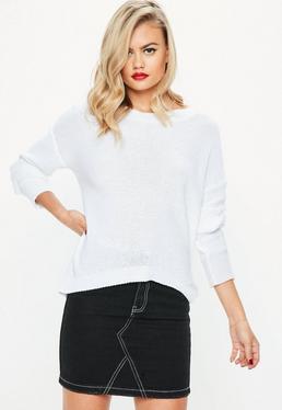 White Dip Back Hem Sweater