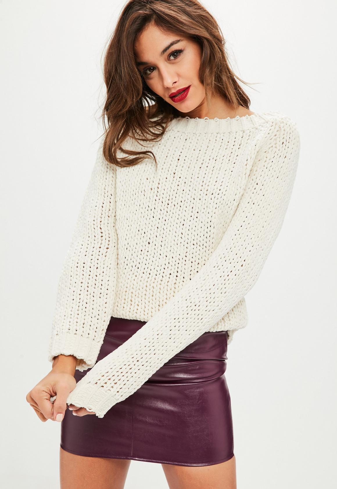 Cream Chunky Slash Neck Sweater | Missguided