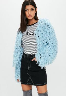 Premium Pastel Blue Shaggy Cropped knitted Cardigan
