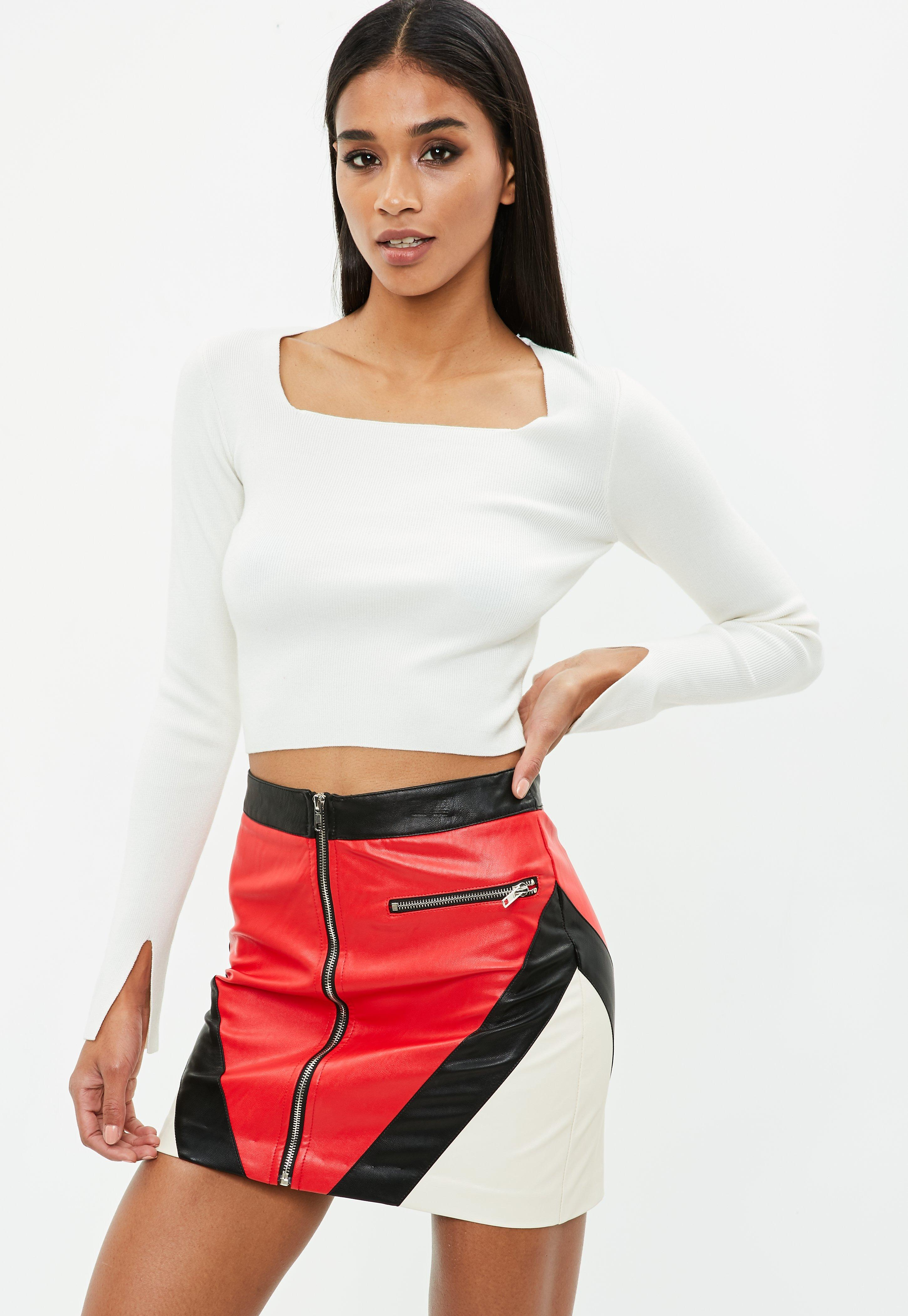 Missguided Square neck ribbed knitted crop top Clearance Cheap Real oiKrgVjTF