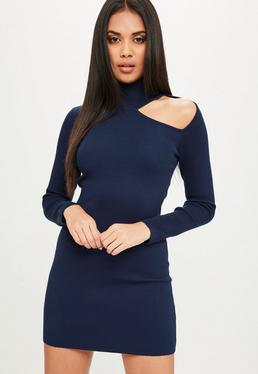 Navy High Neck Cut Out Sweater Dress