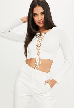 White Lace Up Front Crop Sweater