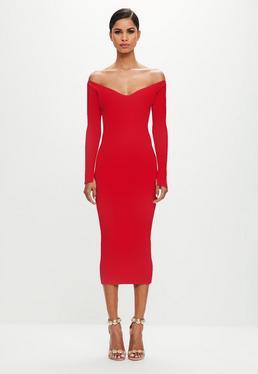 Peace + Love Czerwona prążkowana sukienka midi