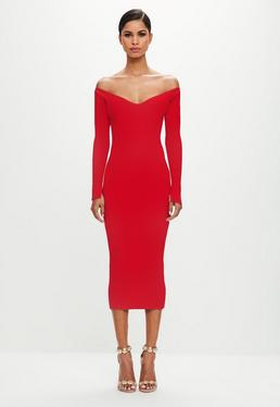 Peace + Love Red Off The Shoulder Midi Dress