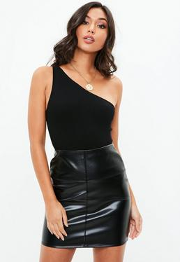 Black One Shoulder Ribbed Bodysuit