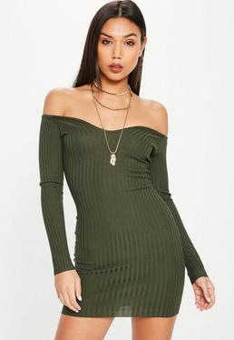 Khaki Knitted Sweetheart Neck Dress