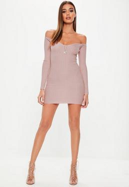 Różowa prążkowana sukienka mini