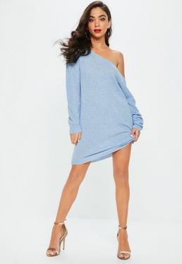 Blue Off Shoulder Jumper Dress