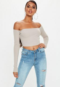 Nude Bardot Knitted Cropped Jumper