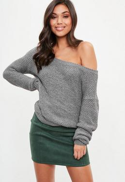 Grey Off The Shoulder Cable Knit Jumper