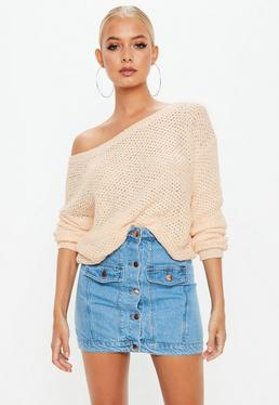 Peach Off Shoulder Cropped knitted Jumper
