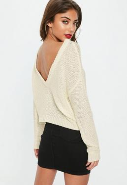 Cream Plunge V Back Sweater