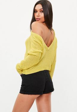 Yellow Plunge V Back Sweater