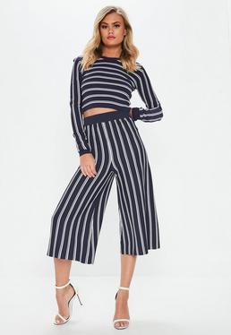Navy Stripe Knitted Wide Leg Trousers