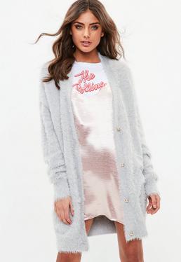 Grey Longline Fluffy knitted Cardigan