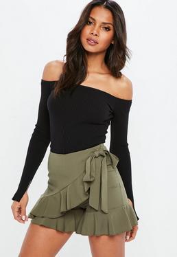 Black Bardot Rib Long Sleeve Sweater