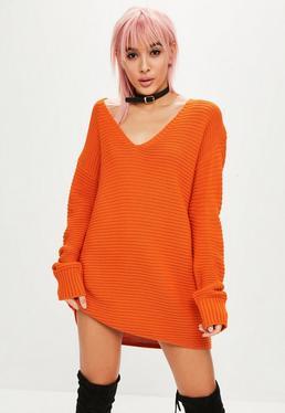 Vestido de punto canalé con escote en v en naranja