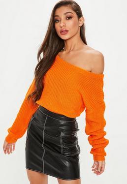 Jersey asimétrico corto en naranja