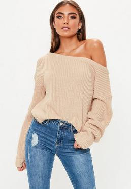 Nude Crop Off The Shoulder Sweater