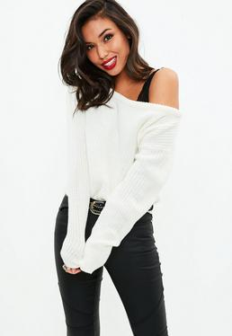 White Crop Off Shoulder Knitted Jumper