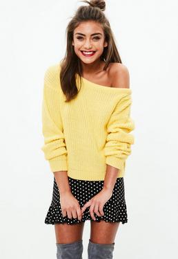 Yellow Crop Off Shoulder Knitted Jumper