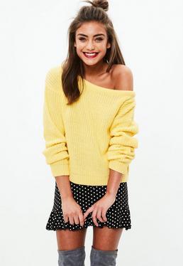 Yellow Crop Off Shoulder Sweater