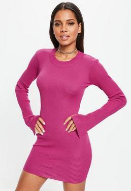 Vestido con manga larga de punto en rosa