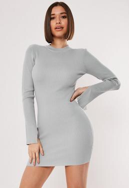 Grey Long Sleeve Ribbed Knitted Bodycon Dress