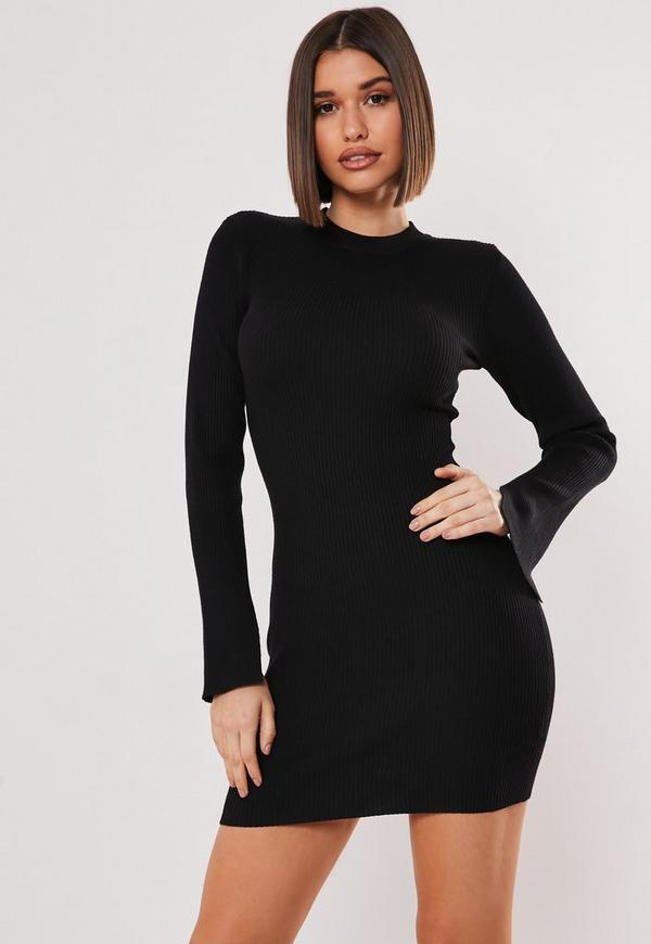 Black Long Sleeve Ribbed Knitted Bodycon Dress  ad45c97c5