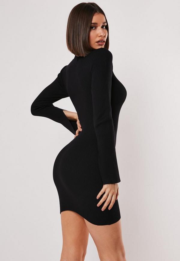 Black long sleeve bodycon dress on sale