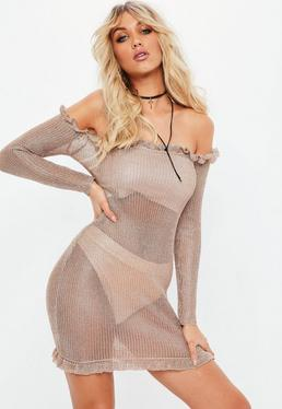 Rose Gold Bardot Metallic Frill Bodycon Sweater Dress