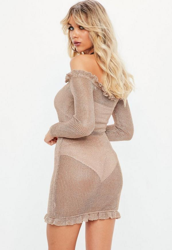 Rose Gold Bardot Metallic Frill Bodycon Knitted Dress